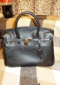 Сумка дамская, черная (копия сумки Birkin)