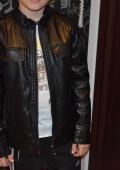 Детская кожаная курта на мальчика, воротник стойка на рост 140 см