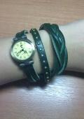 Часы наручные женские (ремешок зеленый, коричневый)