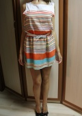 Женское платье 2013 fashion summer women's multicolour stripe slim chiffon sleeveless vest