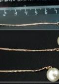 серьги - гвоздики на цепочке с жемчужиной