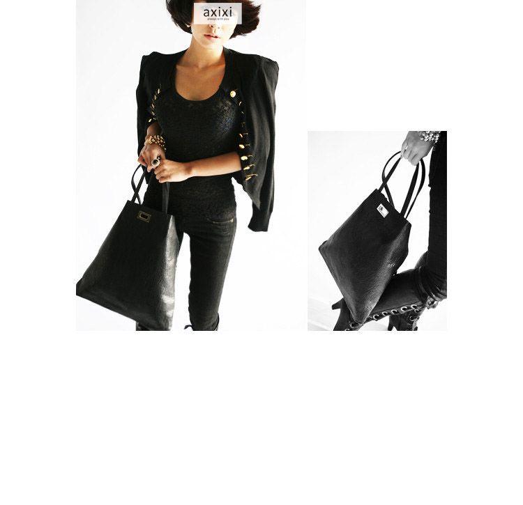 Korea Women Fancy Shoulder Bags Handbag Tote Black F2043-01